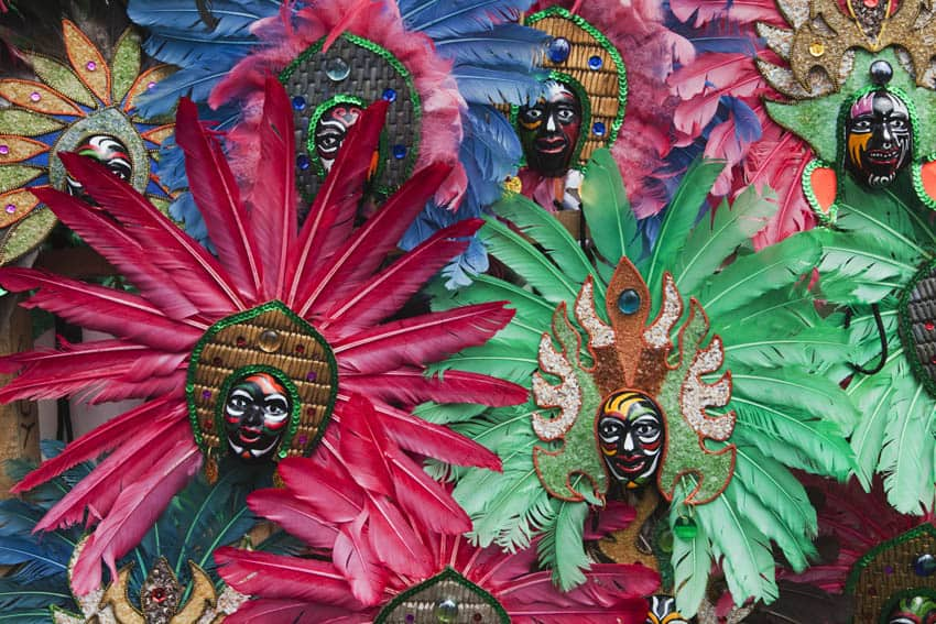 Miniature Dinagyang mask models, Iloilo, Panay, Philippines.