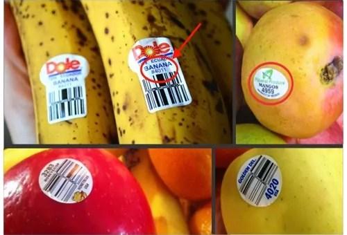 Se você encontrar uma fruta ou vegetal com o numero 8 na etiqueta, não compre!