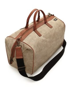 Waxed Linen Duffel Bag with Leather Trim