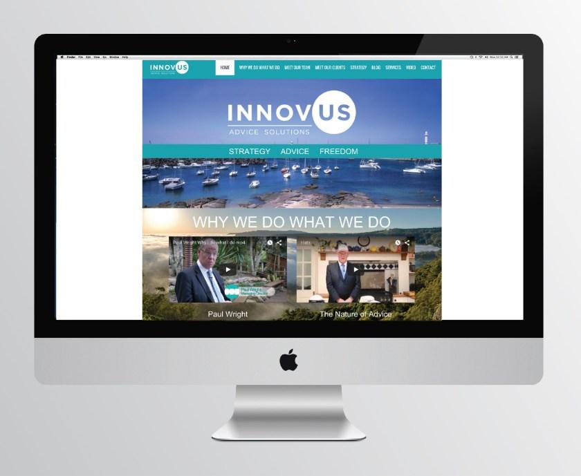 innovus advice financial planner wollongong logo design website design parralax website hostgeek emma wright em designs parramatta branding graphic designer