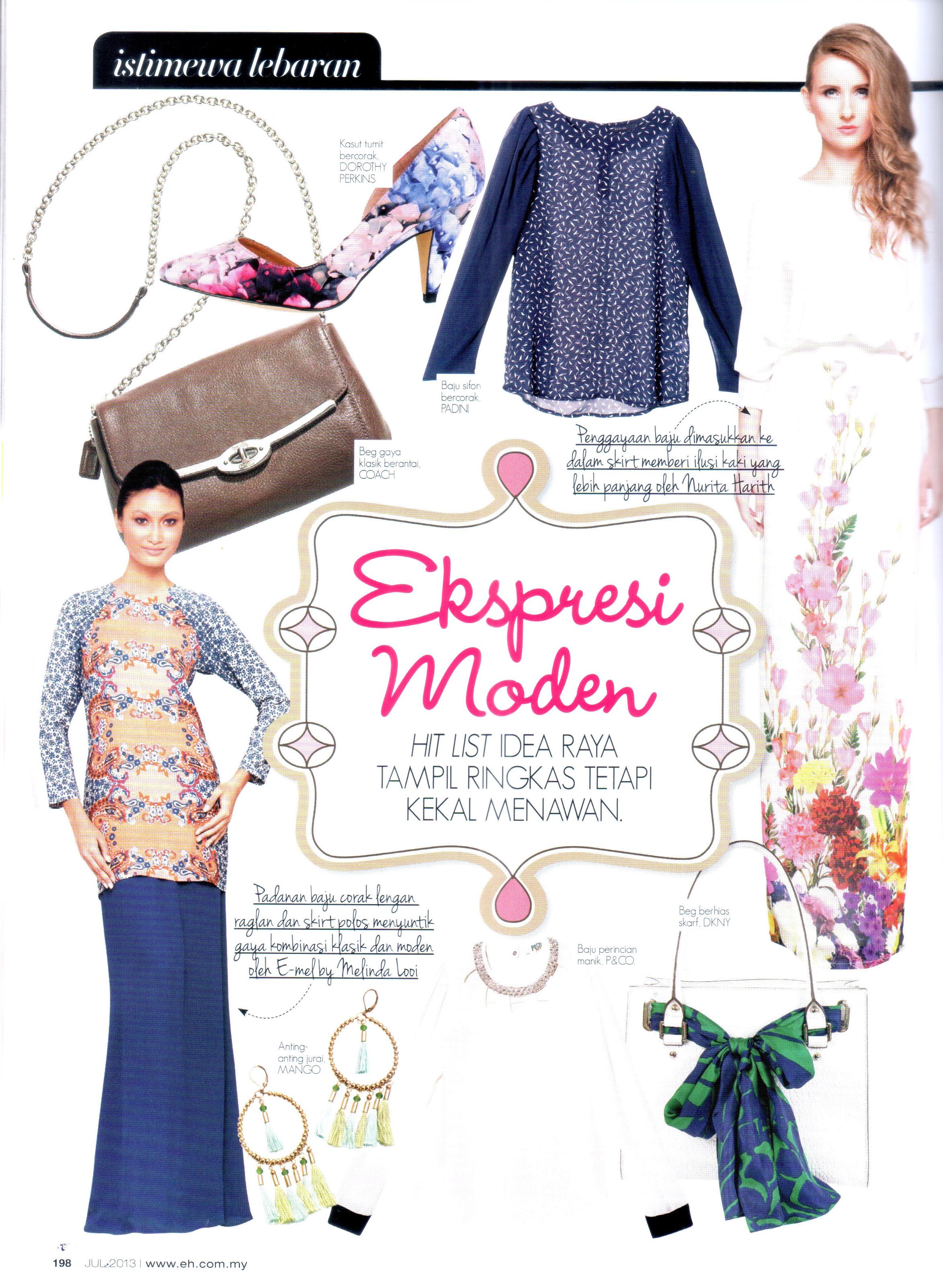 eh! magazine july 2013 baju raya baju kurung moden