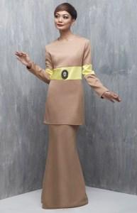 baju raya baju kurung moden nude colour block