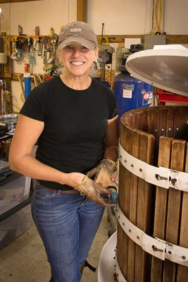 Winemaker Lisa Wicker at the WhiteMoon Winery