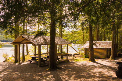 Photo of cabin and covered picnic area