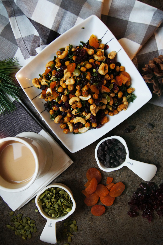 A healthy homemade trail mix recipe that includes roasted chickpeas and mini kale chips