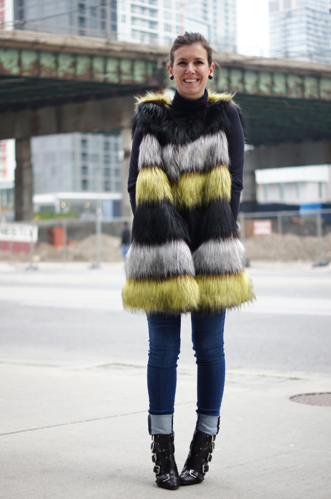 Striped Fur Vest