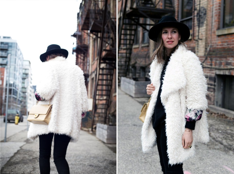Faux fur coat and Goorin Bros. fedora worn by Toronto fashion blogger Threads & Blooms