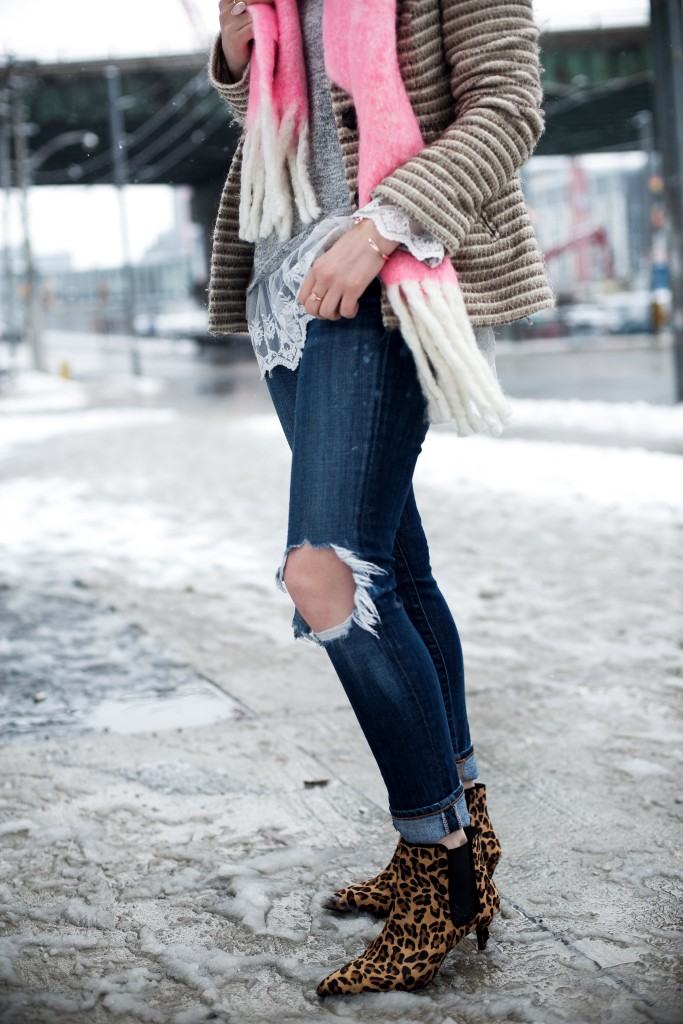 Pink Scarf from Anthropologie paired with ripped denim and leopard booties