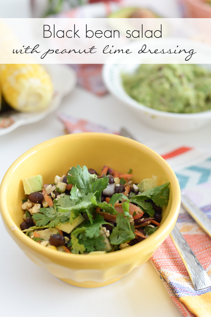 Black bean salad with a peanut lime dressing