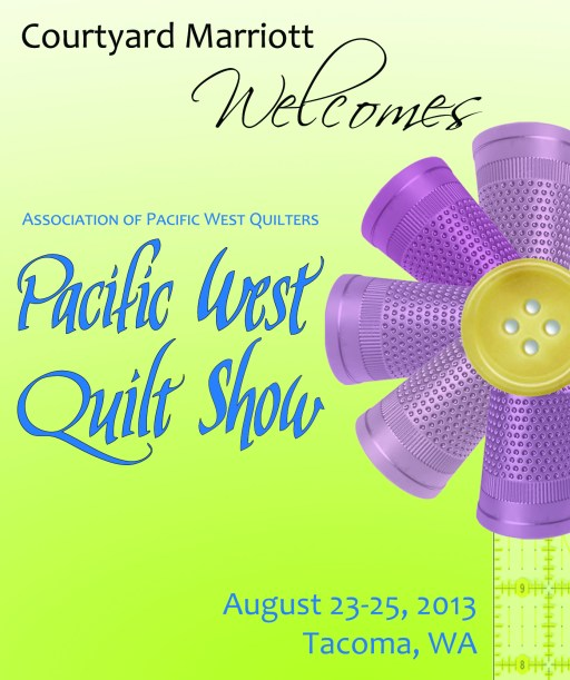 Wine label developed for Courtyard Marriott Tacoma Downtown for the APWQ 2013 Pacific West Quilt Show.