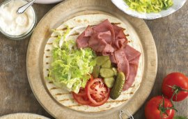Beef Pastrami, Dill Pickle and Tomato Wrap Recipe By Annabel Karmel