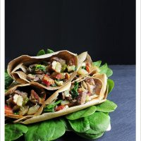 Buckwheat Crêpes with Bacon, Mushrooms and Spinach