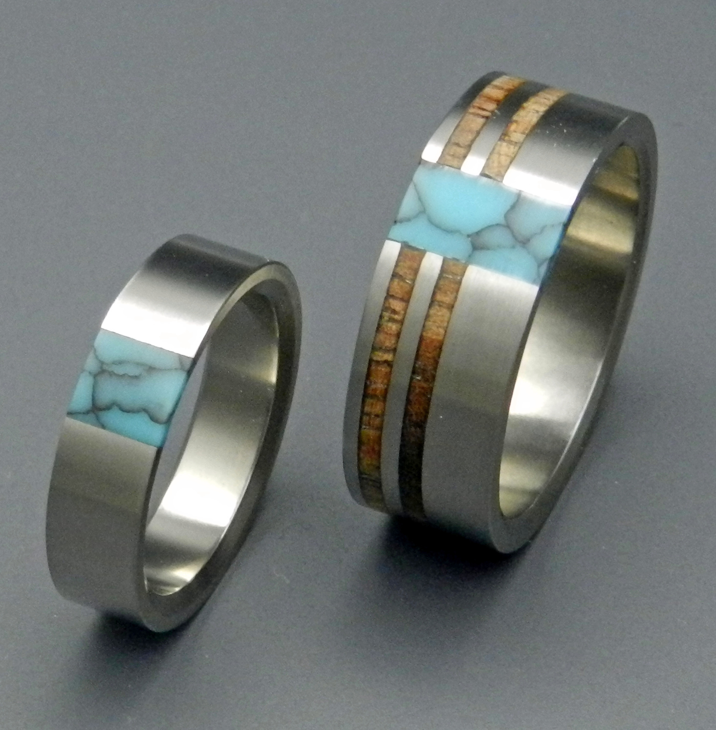 rings turquoise wedding unique wedding band sets Comet and Constellation Turquoise Wedding Titanium Rings