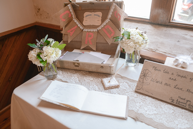 vintage suitcase for wedding cards | photo: Photos by Kristopher | via http://emmalinebride.com