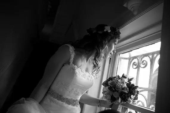 Dennis Drenner Photographs - baltimore museum wedding - bride looks through window