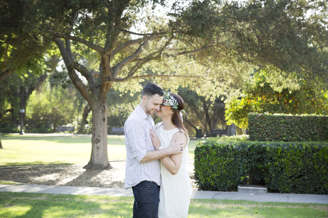 Santa Fe Springs Engagement Session with couple kissing