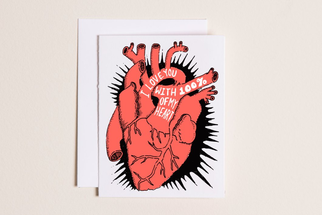 100 percent of my heart by sparkvites - via funny valentine cards etsy from EmmalineBride.com