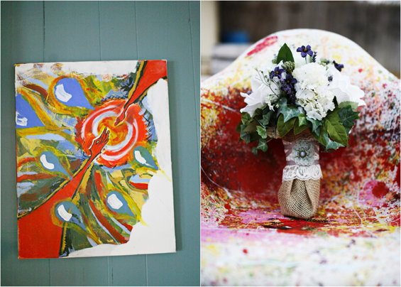 bridal bouquet bride and groom painting