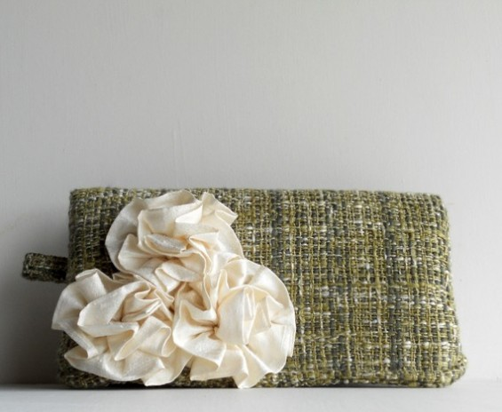 clutch purse with green and white rosette