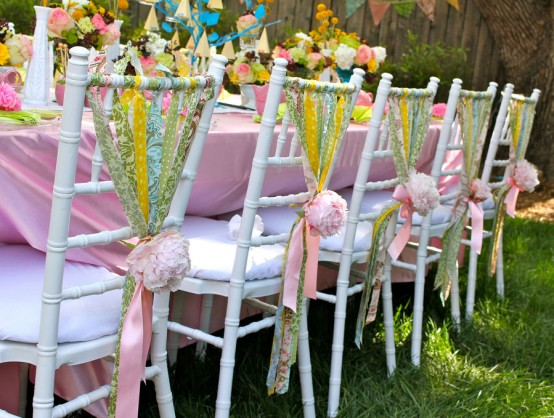 chair ribbons with peonies
