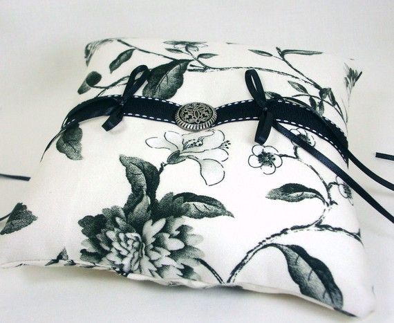 black and white handmade ring pillows