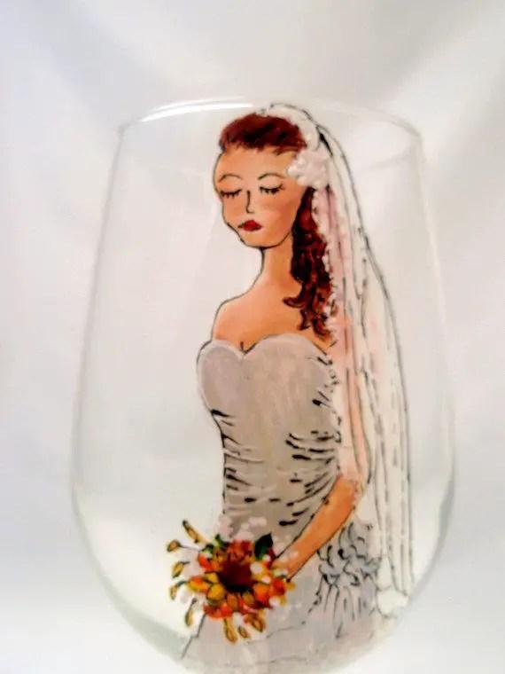 painted bridesmaid glasses