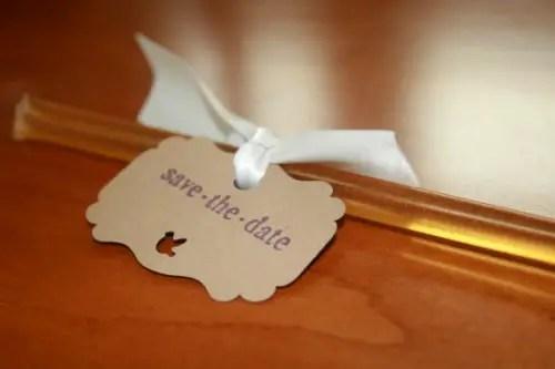 save the date honey sticks