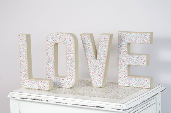 fabric covered love letters