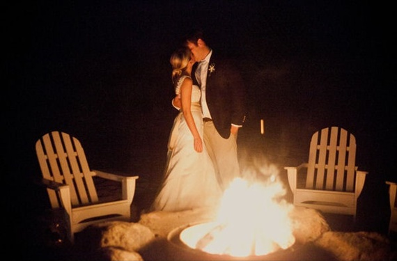 beach wedding bonfire