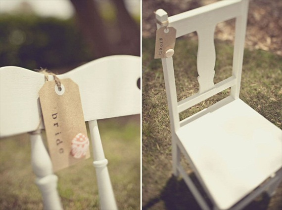 kraft bride and groom chair tags