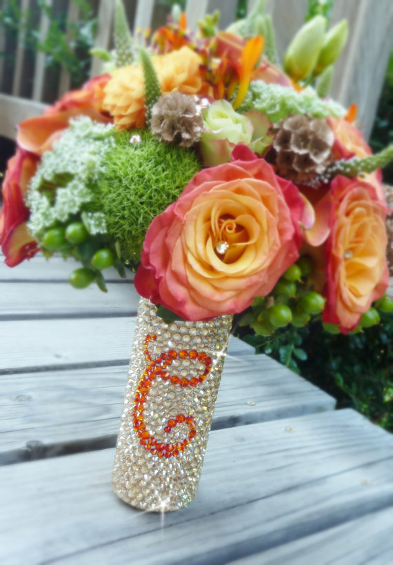 bouquet handle with monogram swarovski crystals