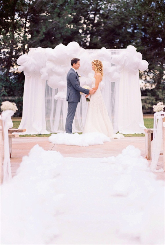 ceremony backdrops - white balloons