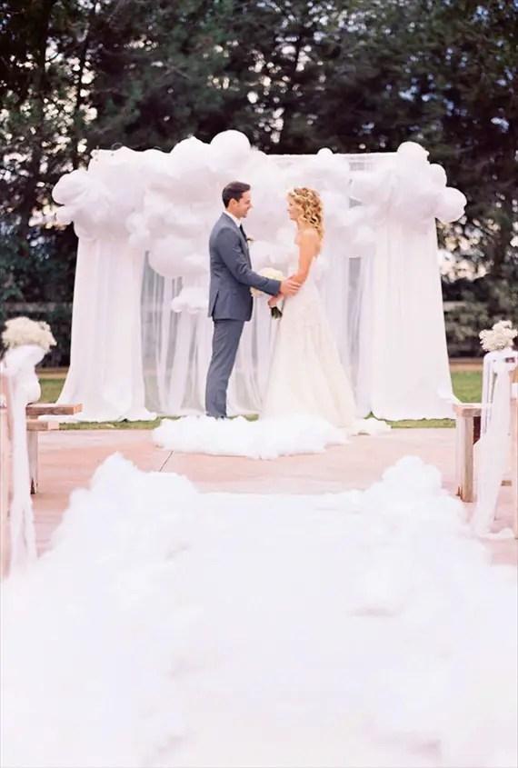 ceremony backdrops - white balloons