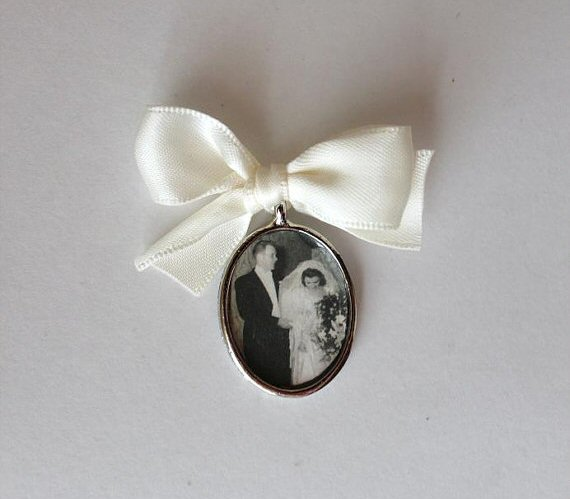 wedding bouquet charm with vintage photo