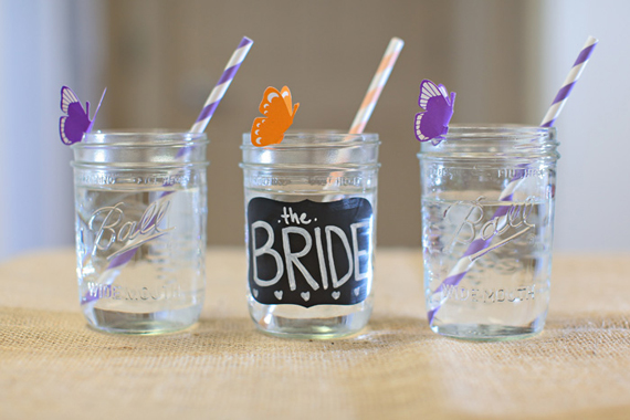 rustic bridal shower mason jar drinking glasses