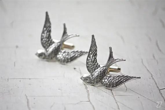 bird wedding cuff links