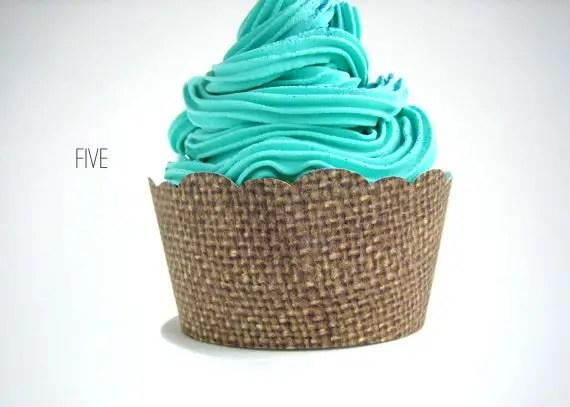 burlap wedding cupcake wrappers