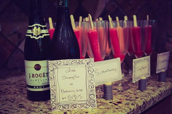 diy champagne bar with popsicles