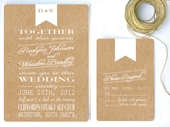 rustic wedding invitation with kraft paper and white banner