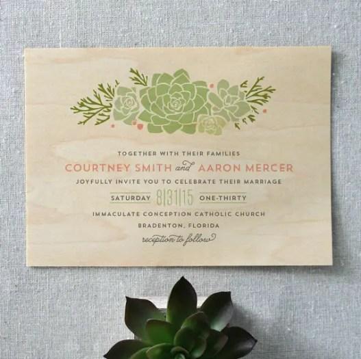 boho-succulent-wooden-wedding-invitation