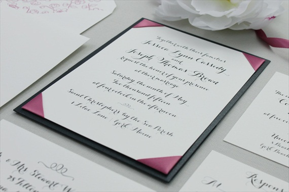Calligraphy-Style-Ribbon-Cornered-Wedding-Invitation