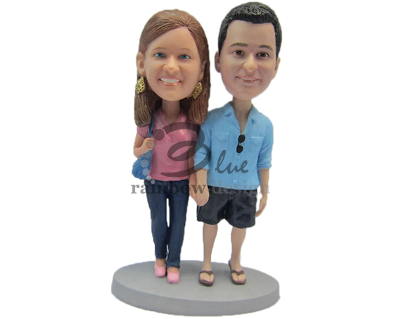 Casual Custom Wedding Cake Toppers Man and Woman - Custom Wedding Bobbleheads for Cake Toppers & Gifts