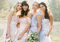 Bridesmaids in Pretty Floral Print Bridesmaid Dresses