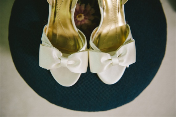 white wedding shoes with bows - michelle gardella photography - Handmade Connecticut Wedding