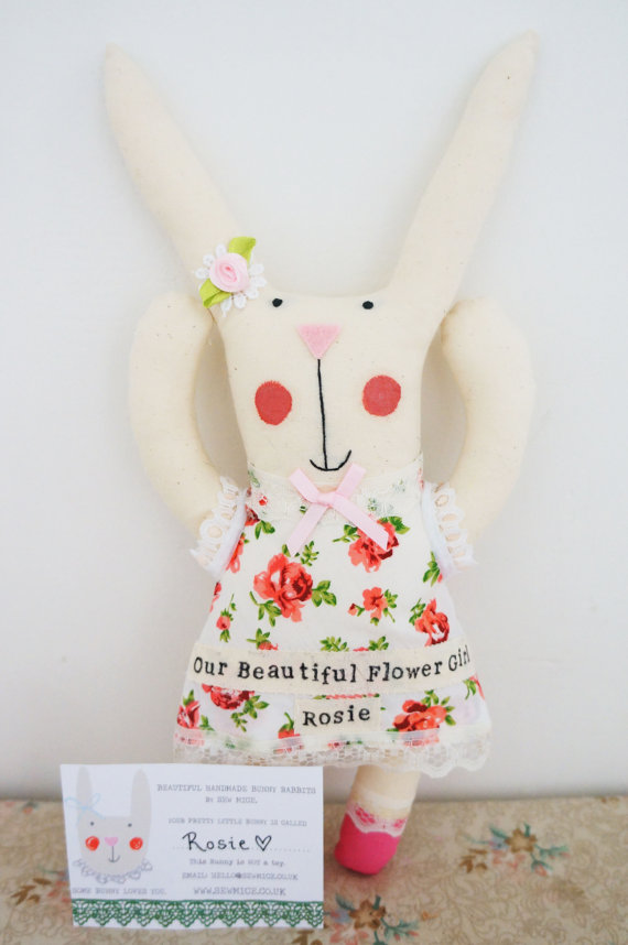 Flower Girl Stuffed Bunny Toy / Gift | Handmade Flower Girl Gifts http://emmalinebride.com/2015-giveaway/handmade-flower-girl-gifts/
