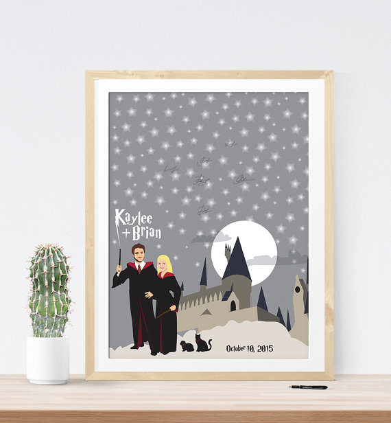 Harry Potter Themed Wedding Guest Book   21 Unique Themed Guest Book Alternatives via http://emmalinebride.com/reception/themed-guest-book-alternatives/