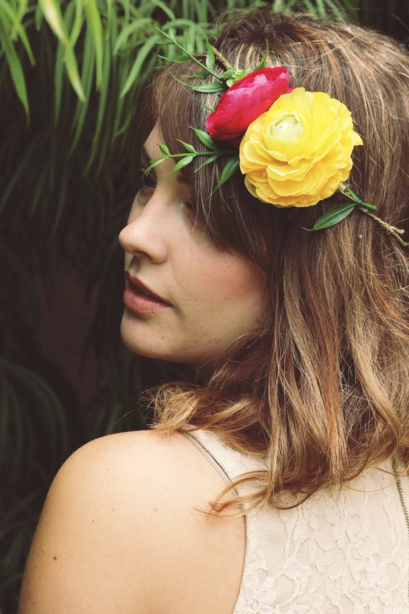 How to Wear a Hair Crown - Half Flower Hair Crown in Yellow