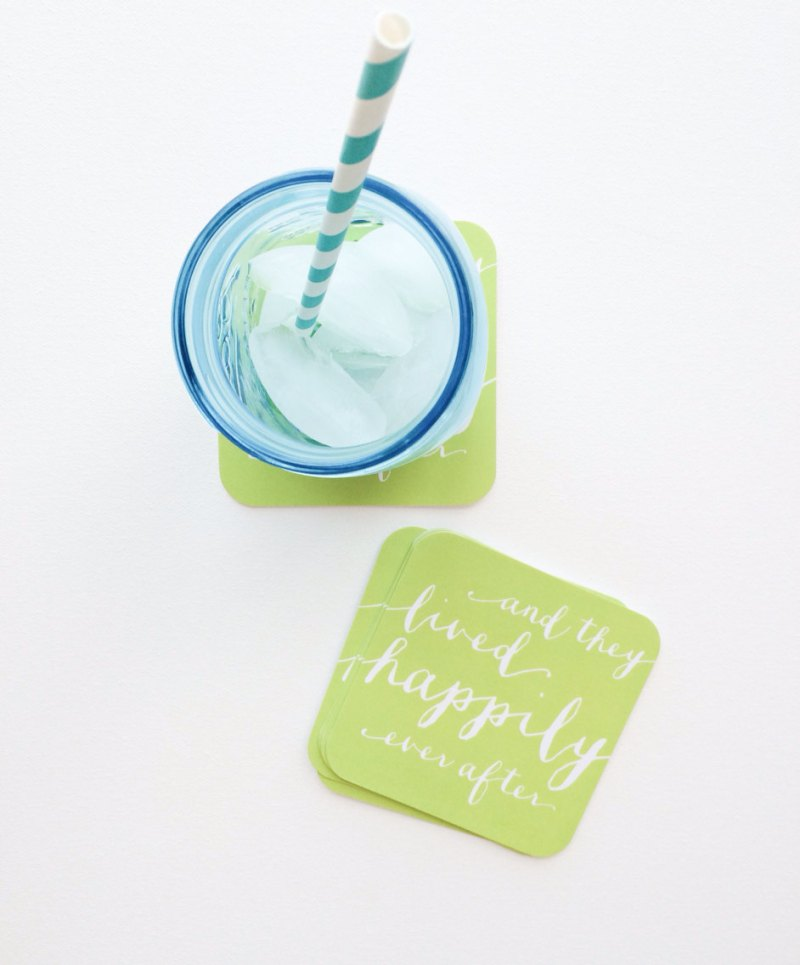 and they lived happily ever after wedding coasters in green
