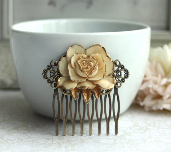 How to Wear a Hair Comb - antiqued rose hair comb by Marolsha