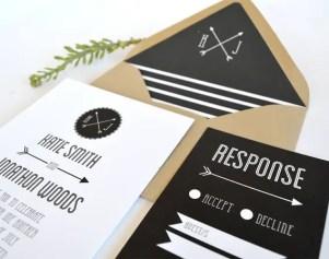 arrow wedding invitations
